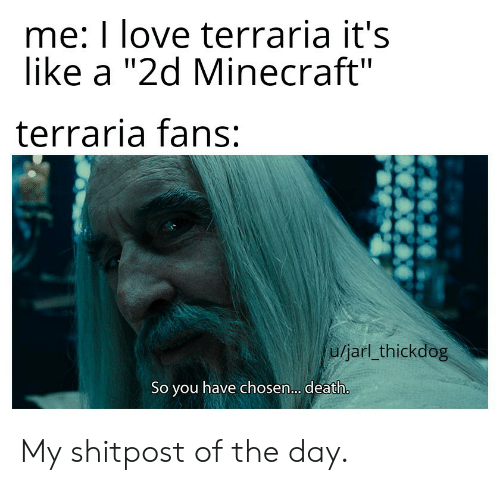 "Love, Minecraft, and Death: me: I love terraria it's  like a ""2d Minecraft""  terraria fans:  U/jarl_thickdog  So you have chosen.. death. My shitpost of the day."