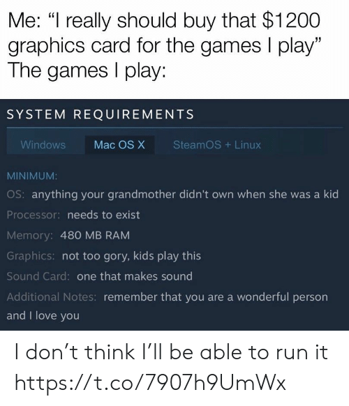 "Love, Run, and Windows: Me: ""I really should buy that $1200  graphics card for the games I play""  The games play:  SYSTEM REQUIREMENTS  SteamOS Linux  Windows  Mac OS X  MINIMUM:  OS: anything your grandmother didn't own when she was a kid  Processor: needs to exist  Memory: 480 MB RAM  Graphics: not too gory, kids play this  Sound Card: one that makes sound  Additional Notes: remember that you are a wonderful person  and I love you I don't think I'll be able to run it https://t.co/7907h9UmWx"