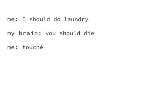 Touche: me I should do laundry  my brain: you should die  me: touché