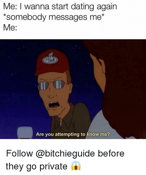 Dating, Memes, and 🤖: Me: I wanna start dating again  *somebody messages me*  Me:  Are you attempting to know me? Follow @bitchieguide before they go private 😱