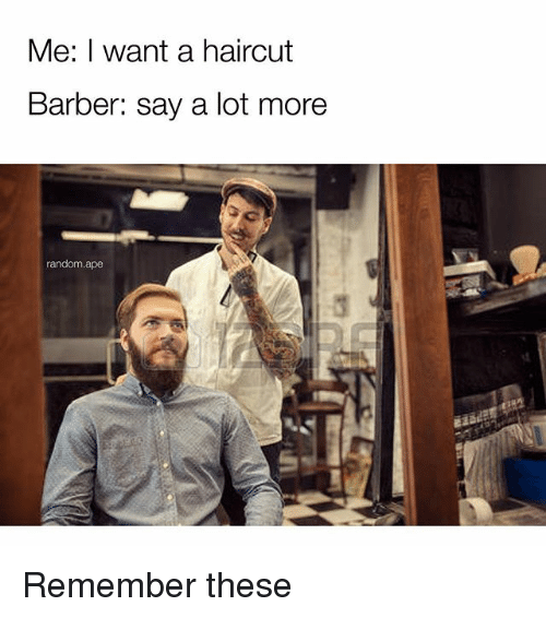 Apees: Me: I want a haircut  Barber: say a lot more  random.ape Remember these