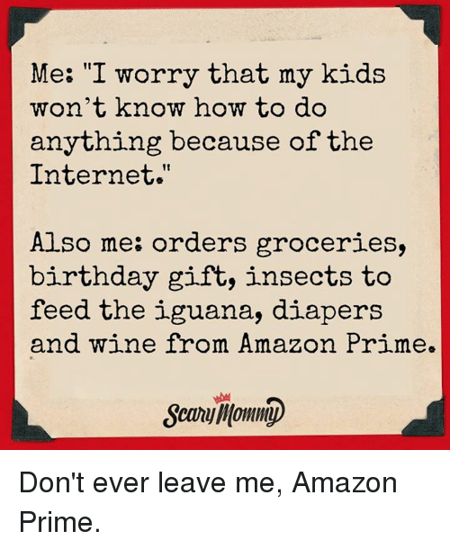 """priming: Me: """"I worry that my kids  n't know how to do  anything because of the  Internet.""""  Also me: orders groceries,  birthday gift, insects to  feed the iguana, diapers  and wine from Amazon Prime.  e.  Sewniomm) Don't ever leave me, Amazon Prime."""