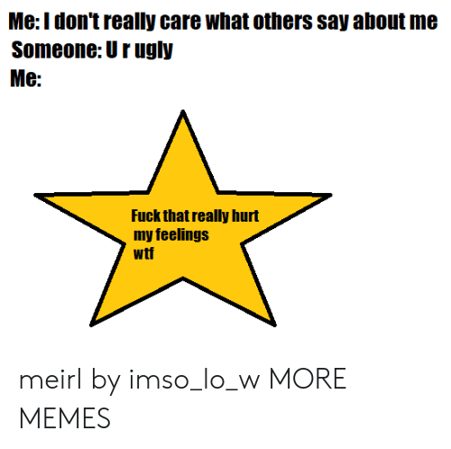 Hurt My: Me:Idon't really care what others say about me  Someone: Urugly  Me:  Fuck that really hurt  my feelings  wtf meirl by imso_lo_w MORE MEMES