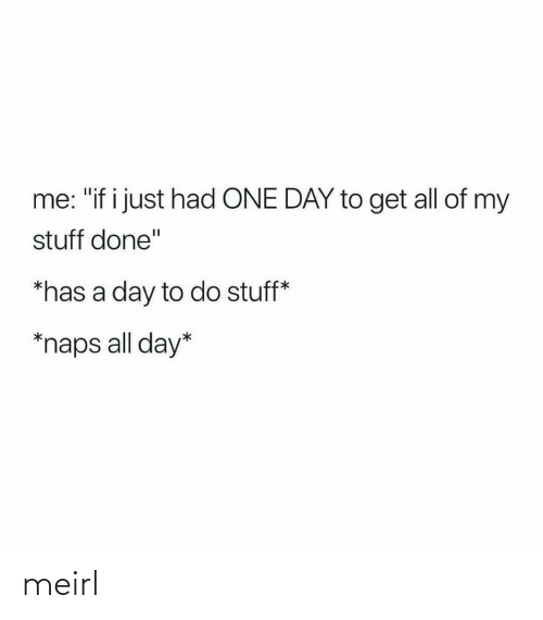 "If I: me: ""if i just had ONE DAY to get all of my  stuff done""  *has a day to do stuff*  *naps all day* meirl"