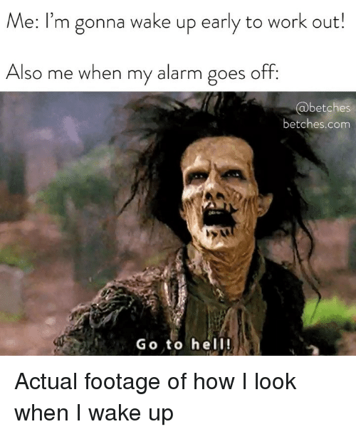 Work, Alarm, and Girl Memes: Me: I'm gonna wake up early to work out!  Also me when my alarm goes off:  abetches  betches.com  Go to hell! Actual footage of how I look when I wake up