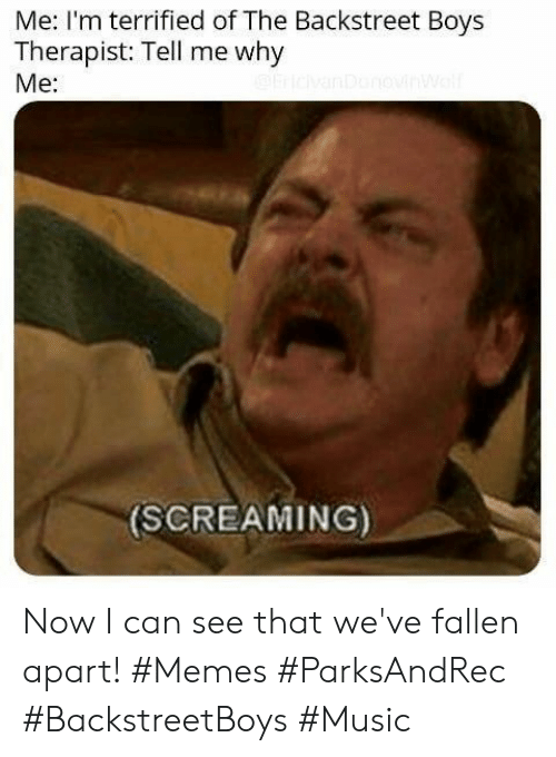why me: Me: I'm terrified of The Backstreet Boys  Therapist: Tell me why  Me:  (SCREAMING) Now I can see that we've fallen apart! #Memes #ParksAndRec #BackstreetBoys #Music