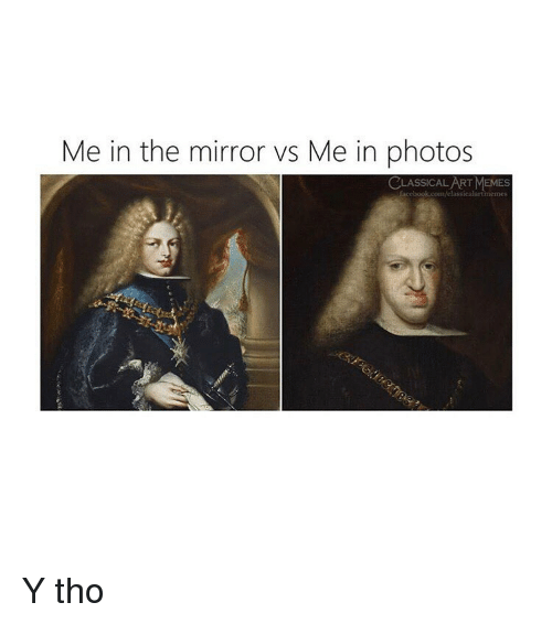 Memes, Mirror, and Classical Art: Me in the mirror vs Me in photos  RT MEMES Y tho