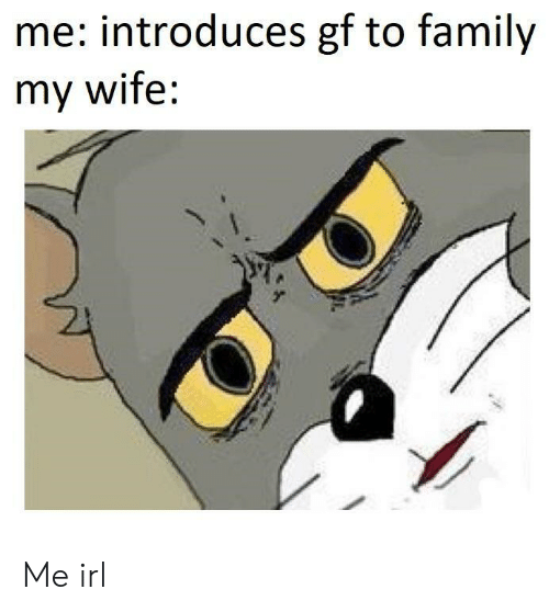 to family: me: introduces gf to family  my wife: Me irl