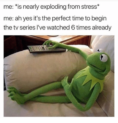 Time, Girl Memes, and Yes: me: *is nearly exploding from stress*  me: ah yes it's the perfect time to begin  the tv series I've watched 6 times already