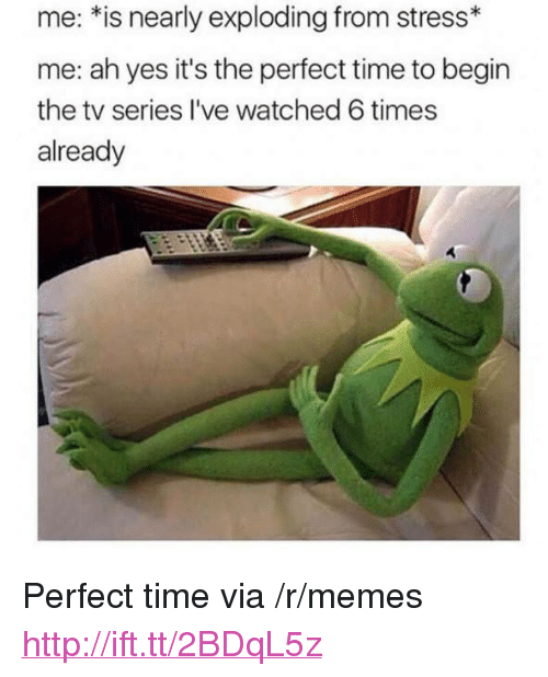 "Memes, Http, and Time: me: *is nearly exploding from stress*  me: ah yes it's the perfect time to begin  the tv series I've watched 6 times  already <p>Perfect time via /r/memes <a href=""http://ift.tt/2BDqL5z"">http://ift.tt/2BDqL5z</a></p>"
