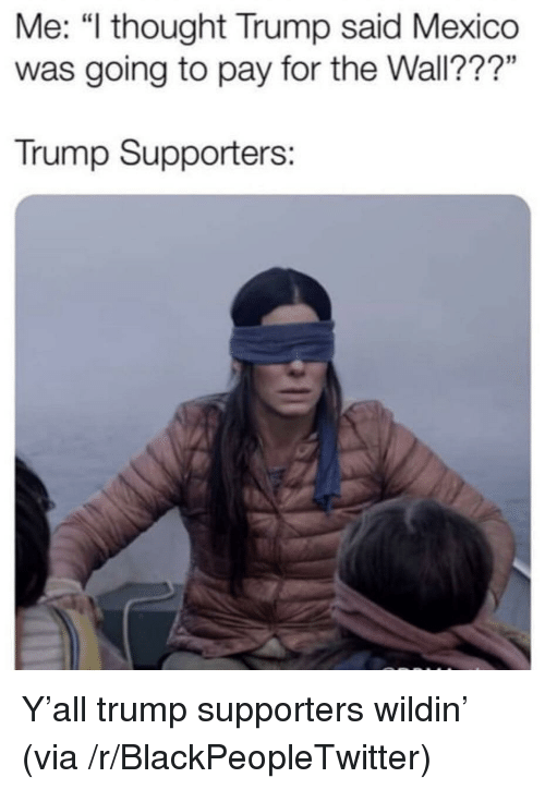 """Blackpeopletwitter, Mexico, and Trump: Me: """"l thought Trump said Mexico  was going to pay for the Wall???""""  Trump Supporters: Y'all trump supporters wildin' (via /r/BlackPeopleTwitter)"""