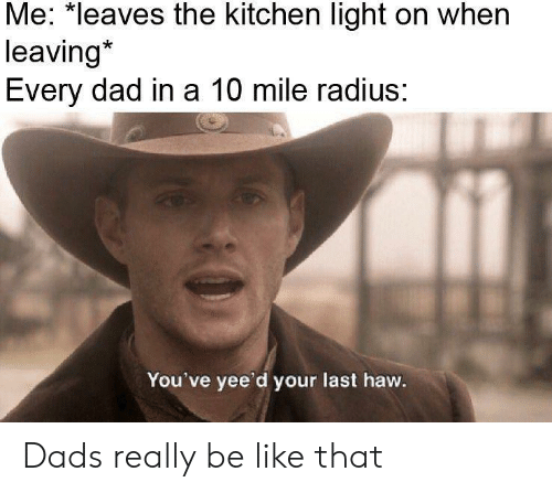 Be Like, Dad, and Light: Me: *leaves the kitchen light on when  leaving*  Every dad in a 10 mile radius:  You've yee'd your last haw. Dads really be like that