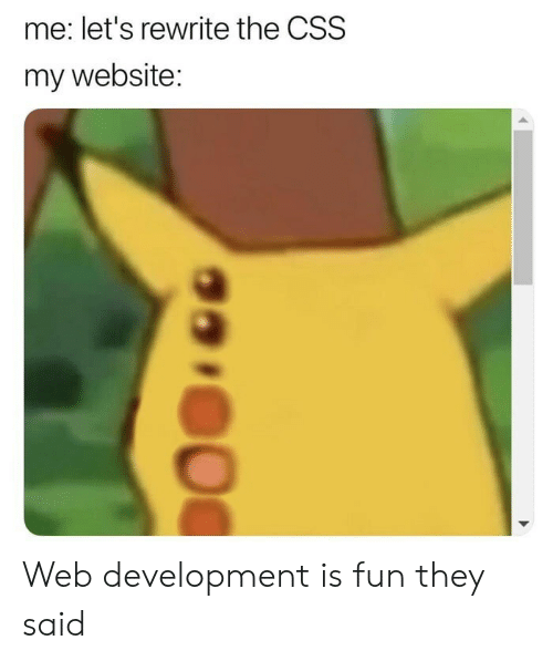 Fun, Website, and Css: me: let's rewrite the CSS  my website: Web development is fun they said