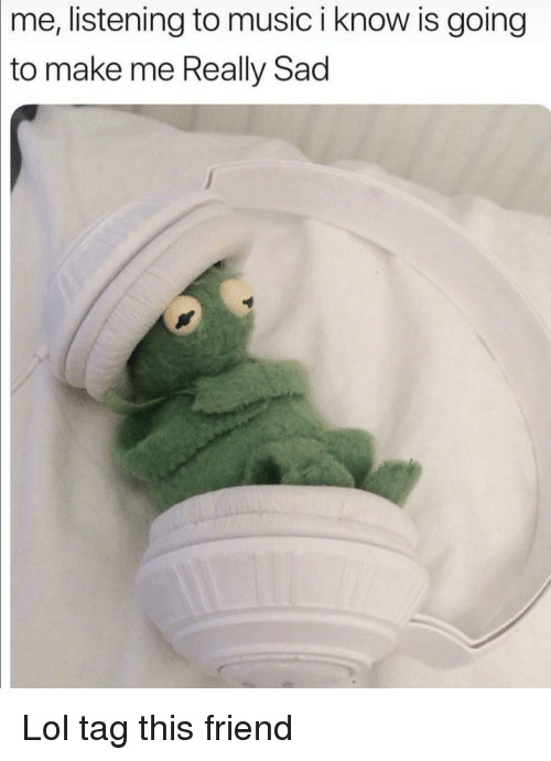 Funny, Lol, and Music: me, listening to music i know is going  to  make me Really Sad Lol tag this friend