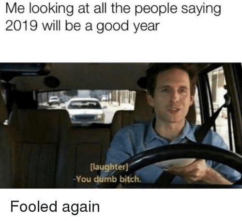 A Good Year: Me looking at all the people saying  2019 will be a good year  laughter]  -You dumb bitch. Fooled again