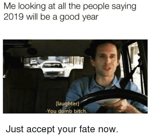 A Good Year: Me looking at all the people saying  2019 will be a good year  laughter]  -You dumb bitch Just accept your fate now.
