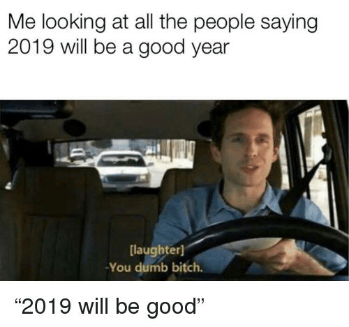 "A Good Year: Me looking at all the people saying  2019 will be a good year  laughter)  -You dumb bitch. ""2019 will be good"""