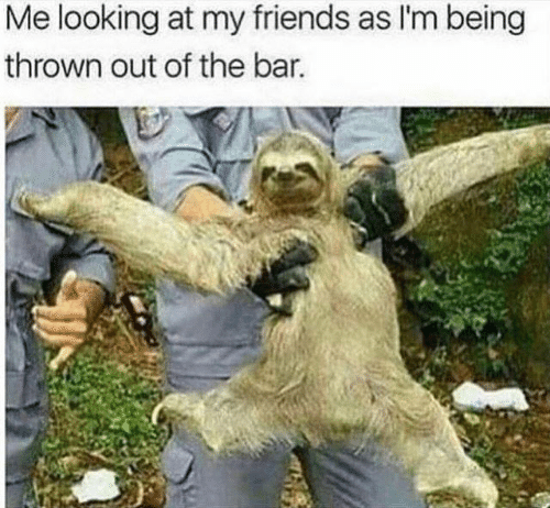 Dank, Friends, and 🤖: Me looking at my friends as l'm being  thrown out of the bar.