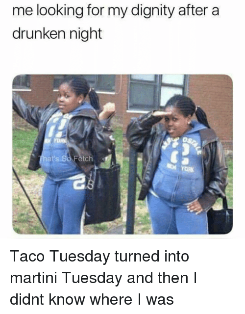 Girl Memes, Drunken, and Looking: me looking for my dignity after a  drunken night  hat's So Fetch Taco Tuesday turned into martini Tuesday and then I didnt know where I was