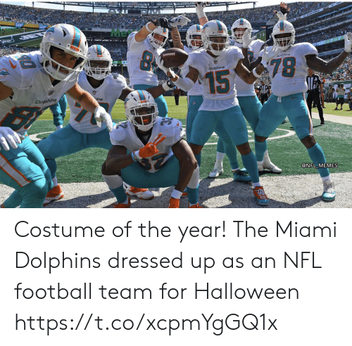 Dolphins: Me  MIAS  Doline  78  Dolphins  15  Dofphins  @NFL MEMES Costume of the year! The Miami Dolphins dressed up as an NFL football team for Halloween https://t.co/xcpmYgGQ1x