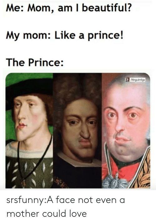 Beautiful, Love, and Prince: Me: Mom, am I beautiful?  My mom: Like a prince!  The Prince:  Ninguéniga srsfunny:A face not even a mother could love