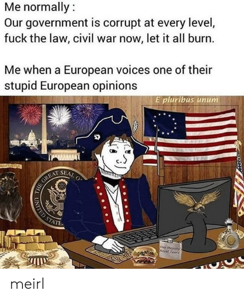 opinions: Me normally:  Our government is corrupt at every level,  fuck the law, civil war now, let it all burn.  Me when a European voices one of their  stupid European opinions  E pluribus unum  SEAL  O  HE GREAT  STATE  Her Majertys  Royal Tears  UNITED ST meirl