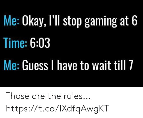 Wait Till: Me: Okay, I'll stop gaming at 6  Time: 6:03  Me: Guess I have to wait till 7 Those are the rules... https://t.co/lXdfqAwgKT