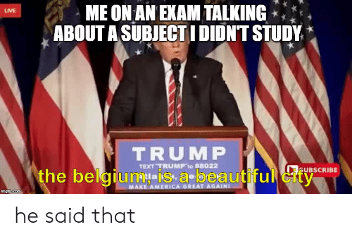 America, Beautiful, and Belgium: ME ON AN EXAM TALKING  ABOUT A SUBJECTIDIDNT STUDY  LIVE  TRUMP  TEXT TRUMP to 88022  aUBSCRIBE  the belgium-iS a-beautiful city  MAKE AMERICA GREAT AGAIN  imaflip.com he said that