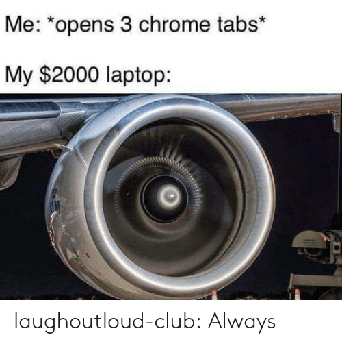 Opens: Me: *opens 3 chrome tabs*  My $2000 laptop: laughoutloud-club:  Always