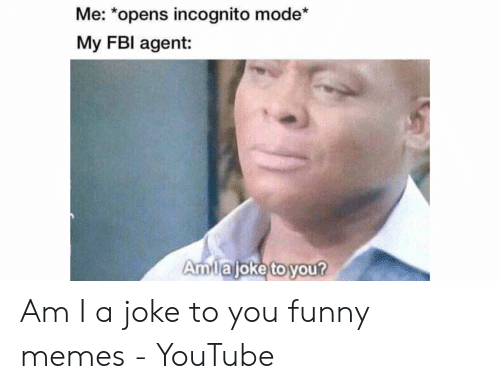 Funny Memes Youtube: Me: *opens incognito mode*  My FBl agent:  Amuajoke to you Am I a joke to you funny memes - YouTube