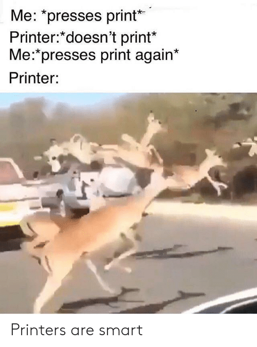 "Smart, Printer, and Printers: Me: ""presses print  Printer:*doesn't print*  Me:*presses print again*  Printer: Printers are smart"