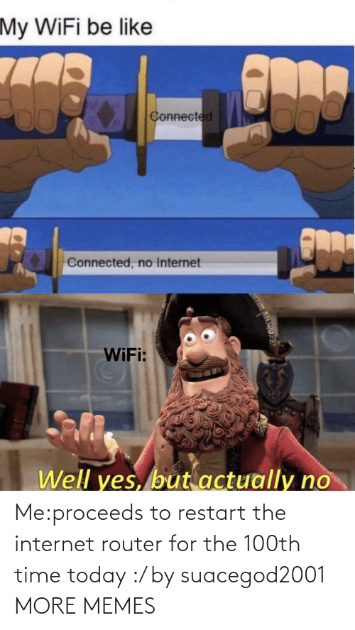 Internet: Me:proceeds to restart the internet router for the 100th time today :/ by suacegod2001 MORE MEMES