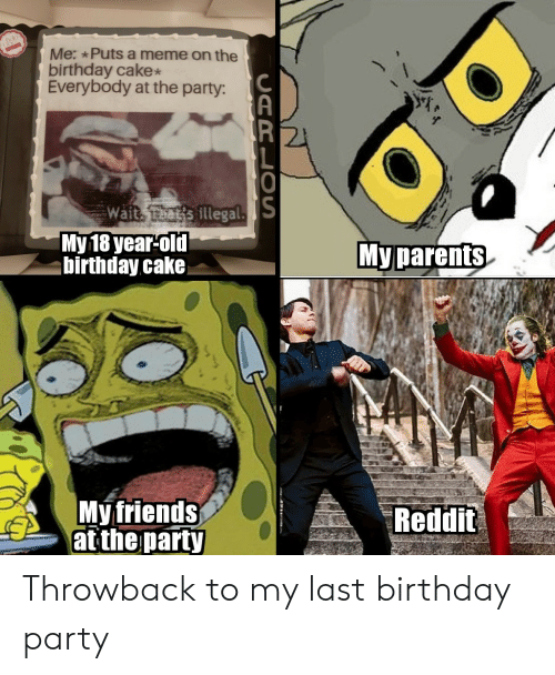 Birthday, Friends, and Meme: Me: Puts a meme on the  birthday cake  Everybody at the party:  PR  O  Wait eats illegal.S  Мy 18 year-old  birthday cake  Му рarents  My friends  at the party  Reddit  CARLOS Throwback to my last birthday party