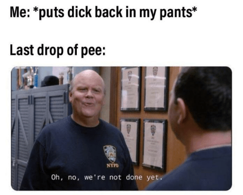 My Pants: Me: *puts dick back in my pants*  Last drop of pee:  NYPD  Oh, no, we're not done yet.