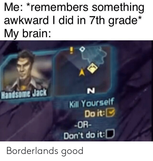 jack: Me: *remembers something  awkward I did in 7th grade*  My brain:  Handsome Jack  N  Kill Yourself  Do it:  OR-  Don't do it: Borderlands good