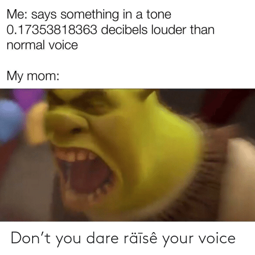 Raise: Me: says something in a tone  0.17353818363 decibels louder than  normal voice  My mom: Don't you dare räīsê your voice