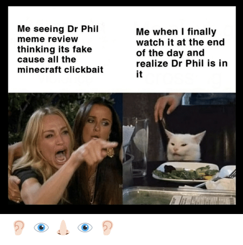 Fake, Meme, and Minecraft: Me seeing Dr Phil  meme review  Me when I finally  watch it at the end  of the day and  realize Dr Phil is in  thinking its fake  cause all the  minecraft clickbait  it 👂🏻 👁️ 👃🏻 👁️ 👂🏻
