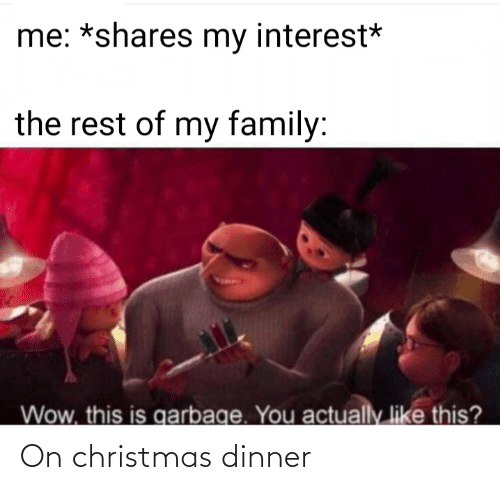 christmas dinner: me: *shares my interest*  the rest of my family:  Wow, this is garbage. You  actually like this? On christmas dinner