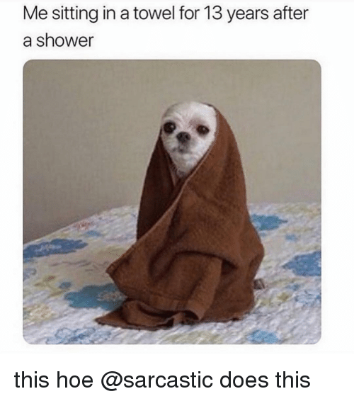 Funny, Hoe, and Memes: Me sitting in a towel for 13 years after  a shower this hoe @sarcastic does this