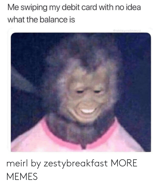 Dank, Memes, and Target: Me swiping my debit card with no idea  what the balance is  Oraba meirl by zestybreakfast MORE MEMES