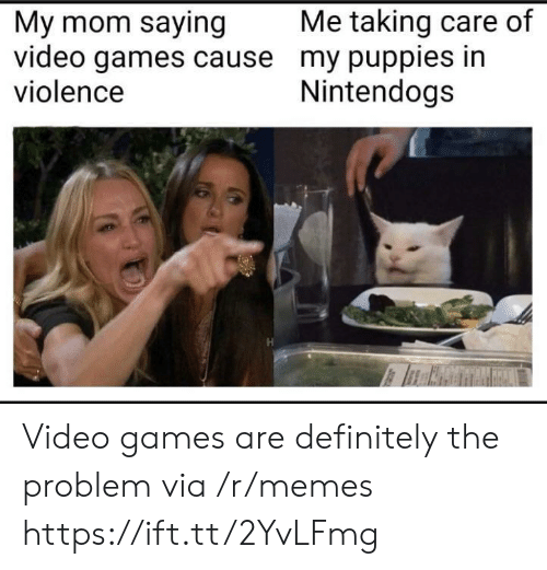 Definitely, Memes, and Puppies: Me taking care of  My mom saying  video games cause my puppies in  violence  Nintendogs Video games are definitely the problem via /r/memes https://ift.tt/2YvLFmg