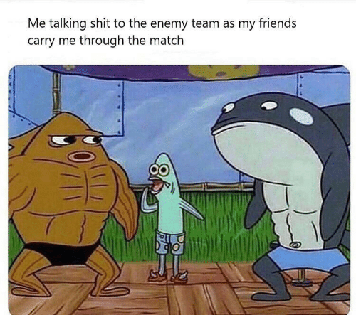 my friends: Me talking shit to the enemy team as my friends  carry me through the match