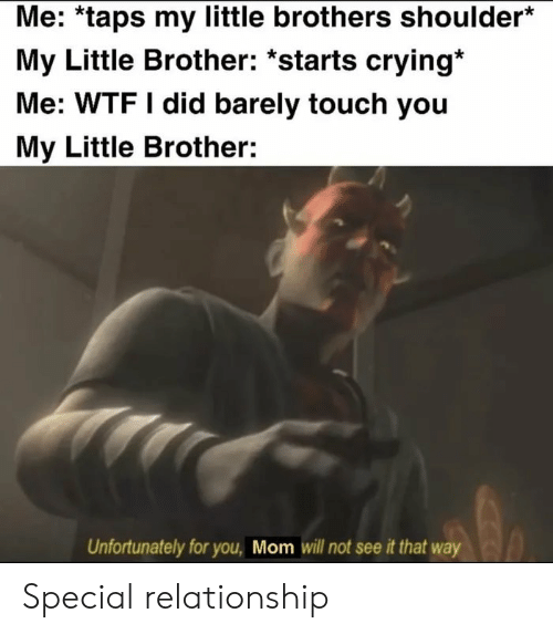 Crying, Funny, and Wtf: Me: *taps my little brothers shoulder*  My Little Brother: *starts crying*  Me: WTF I did barely touch you  My Little Brother:  Unfortunately for you, Mom will not see it that way Special relationship