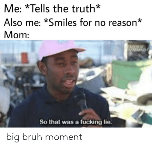 no reason: Me: *Tells the truth*  Also me: *Smiles for no reason*  Mom:  Uopeal  So that was a fucking lie. big bruh moment
