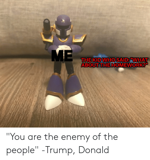 """Trump, Homework, and The Enemy: ME  THE KIDWHO SAID:""""WHAT  ABOUT THE HOMEWORK?"""" """"You are the enemy of the people"""" -Trump, Donald"""