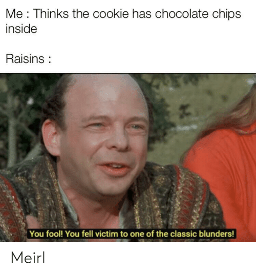 Chocolate, MeIRL, and Chips: Me: Thinks the cookie has chocolate chips  inside  Raisins:  You fool! You fell victim to one of the classic blunders! Meirl