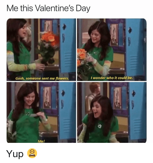 Funny, Valentine's Day, and Flowers: Me this Valentine's Day  Gosh, someone sent me flowers.  I wonder who it could be.  Mel Yup 😩
