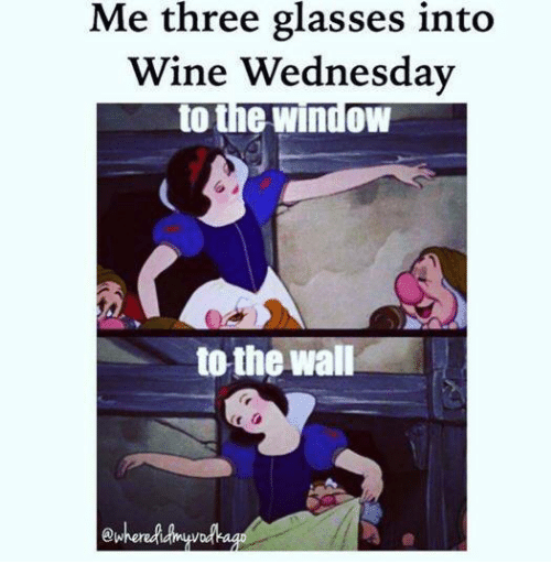 Wine Wednesday: Me three glasses into  Wine Wednesday  to the window  to the wall  ewhered
