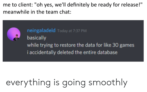 "Definitely, Chat, and Games: me to client: ""oh yes, we'll definitely be ready for release!""  meanwhile in the team chat:  neingaladeld Today at 7:37 PM  basically  while trying to restore the data for like 30 games  i accidentally deleted the entire database everything is going smoothly"
