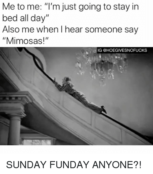 "Sunday Funday: Me to me: ""I'm just going to stay in  bed all day""  Also me when I hear someone say  ""Mimosas!""  IG @HOEGIVESNOFUCKS SUNDAY FUNDAY ANYONE?!"